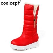 Bottes Plate-Forme de neige Femmes Chaussures D'hiver Imperméables Mi-mollet Bottes Moitié Courtes Bottes De Fourrure Épaissie Fourrure Botas Taille 33-43