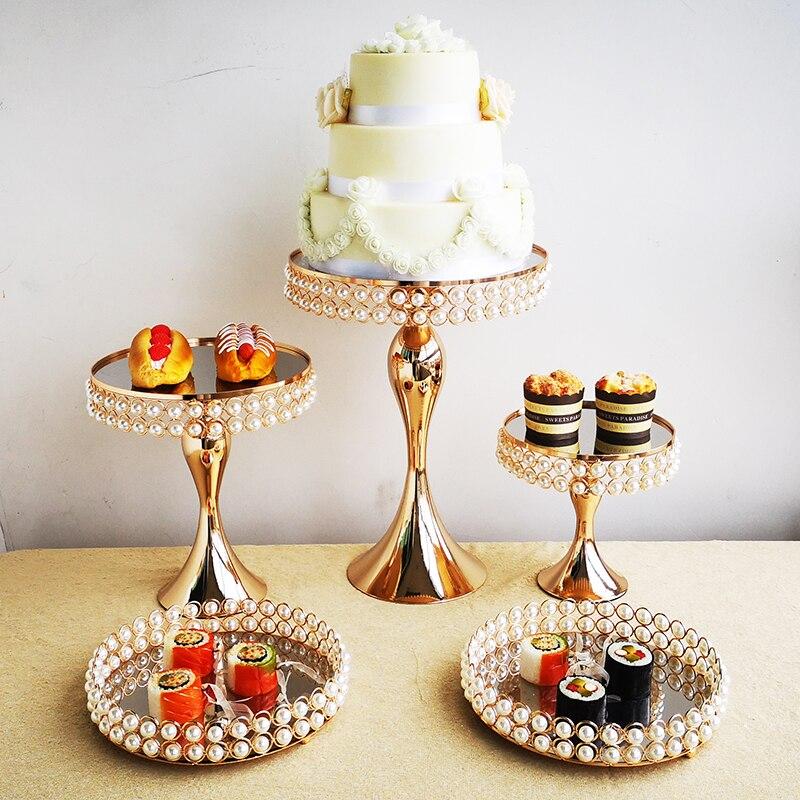 1 pièces-5 pièces perle gâteau stand ensemble miroir cuisson amour mariage fête dessert table décoration