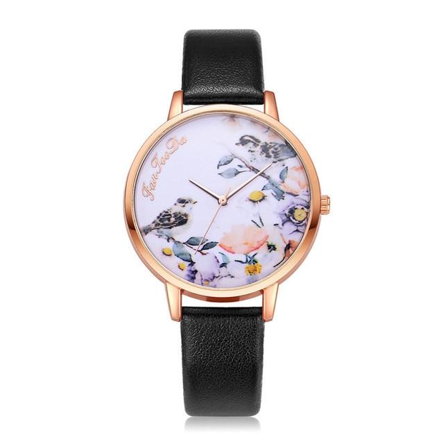 Women Leather New Design Fashion Watches Flowers Ladies Female Quartz Wrist Watch Women Thin Leather Strap Bracelet Watch Clock