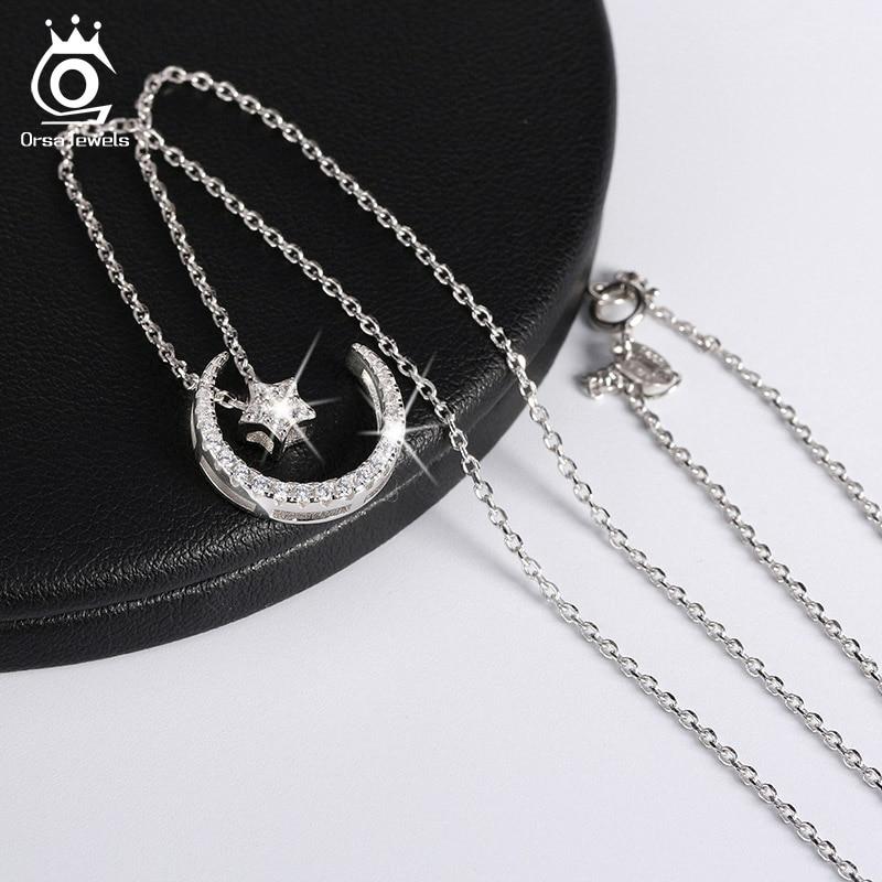 ORSA JEWELLS 925 Sterling Gümüşü Ay Ulduz Asqılı Boyunbağı - Gözəl zərgərlik - Fotoqrafiya 2