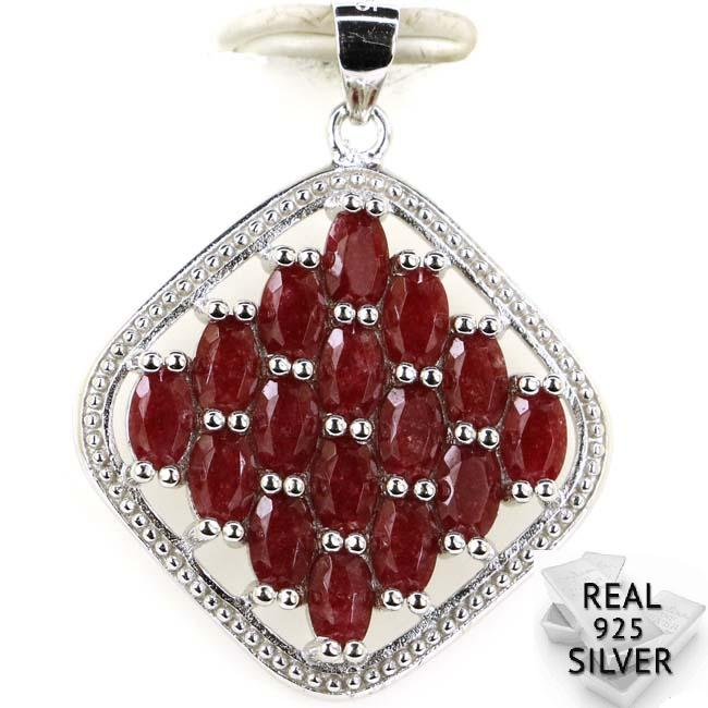 Guaranteed Real 925 Solid Sterling Silver 5.5g Ravishing Real Blood Ruby, CZ Woman's Pendant 33x26mm