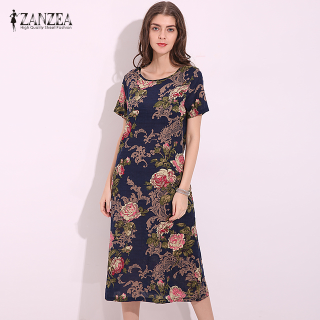 3fd883ceb8ee ZANZEA Women Short Sleeve Mid-length Dress Casual O-neck Print Loose Plus  Size Cotton Summer Vestidos Pockets Dresses Robe