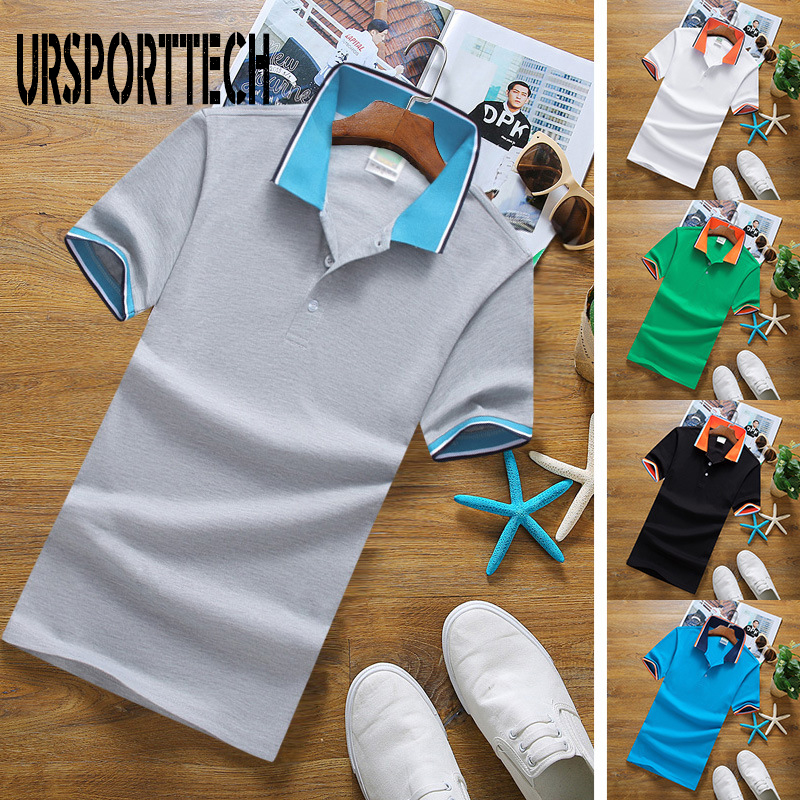 URSPORTTECH Mens Polo Shirts With Short Sleeve Polo Shirt Men Summer Top Brands New Fashion Casual Polo Homme Plus Size 3XL 4XL