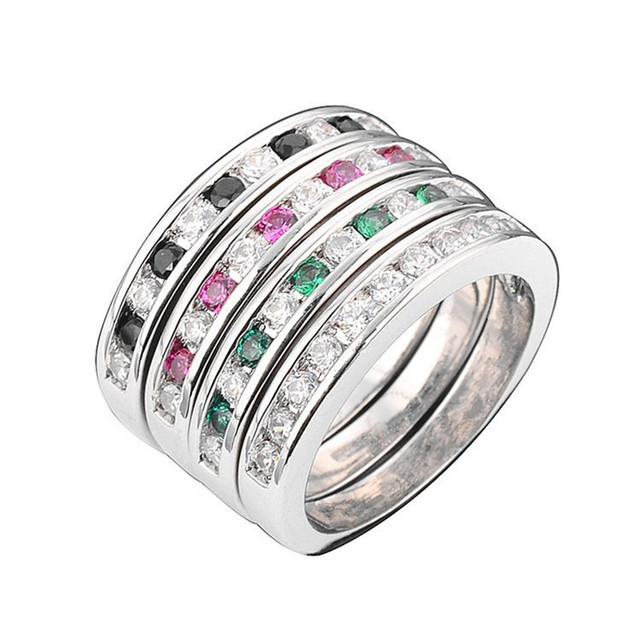 10 2017 New 4 Piece combination Ring Red/Green/Black/White Zircon Fashion Silver Plated Rings Jewelery for Women's Wedding Gift