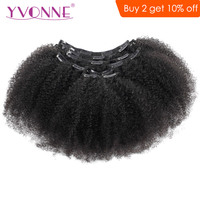 YVONNE Afro Kinky Curly Clip In Human Hair Extensions Brazilian Virgin Hair 7 Pieces/Set 120g/set Natural Color
