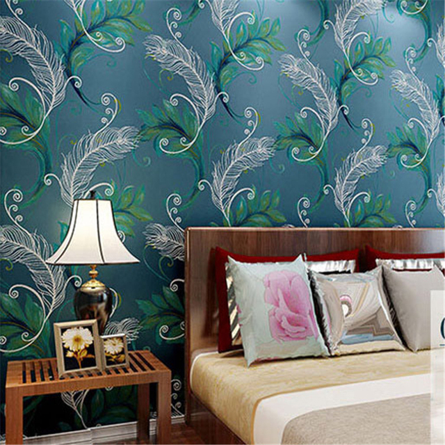 Beibehang Luxury Peacock Feathers Silver Wall Paper Non Woven