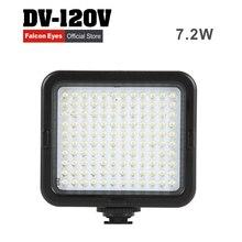 Falconeyes oferta especial 7.2 w mini LED luz de Preenchimento para a câmera ou filmadora usando DV-120V 5 pcs AA bateria