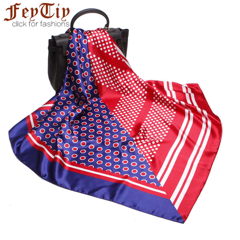 Blue&Red Patchwork Hijab Cute Dot Scarf Women Foulard Neckerchief High Quality Square Shawl 2018 Large Female Neck Wraps 90*90cm