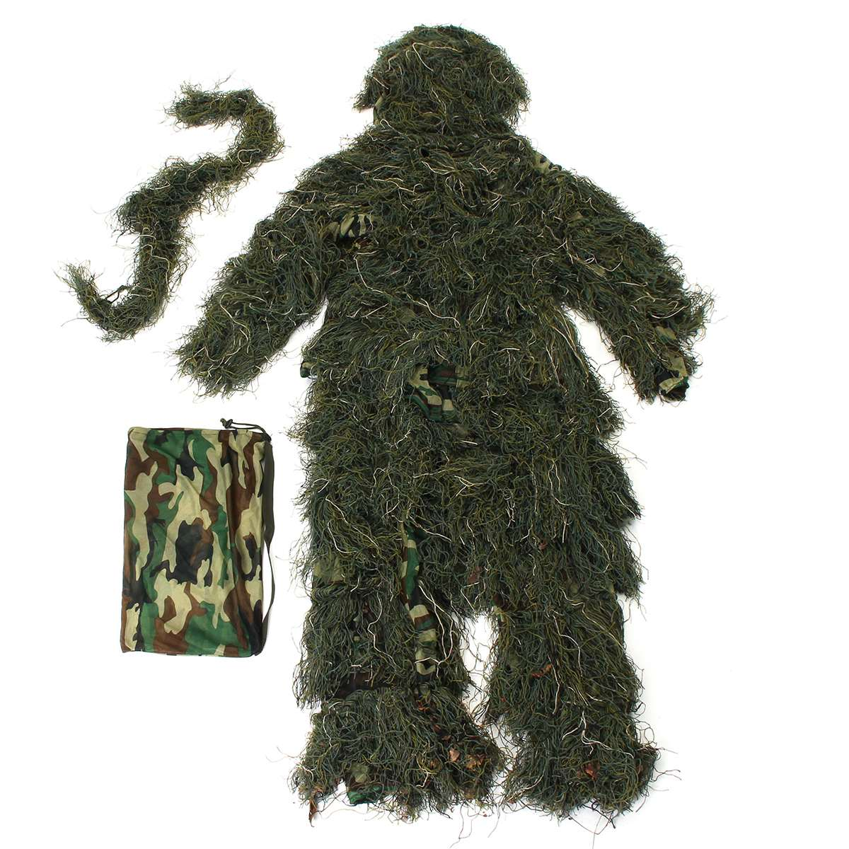 5 Piece Ghillie Suit Woodland Camo Camouflage Durable Polyester Clothing 3D Rifle Wrap Hunting Size clothes durable dabbling camouflage trousers size l