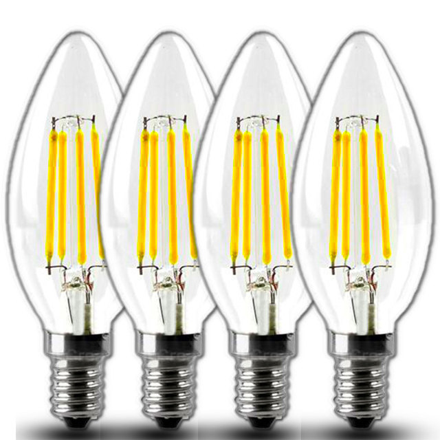 LED E12 Filament Light Bulbs 2W 4W LED Candelabra Base Light