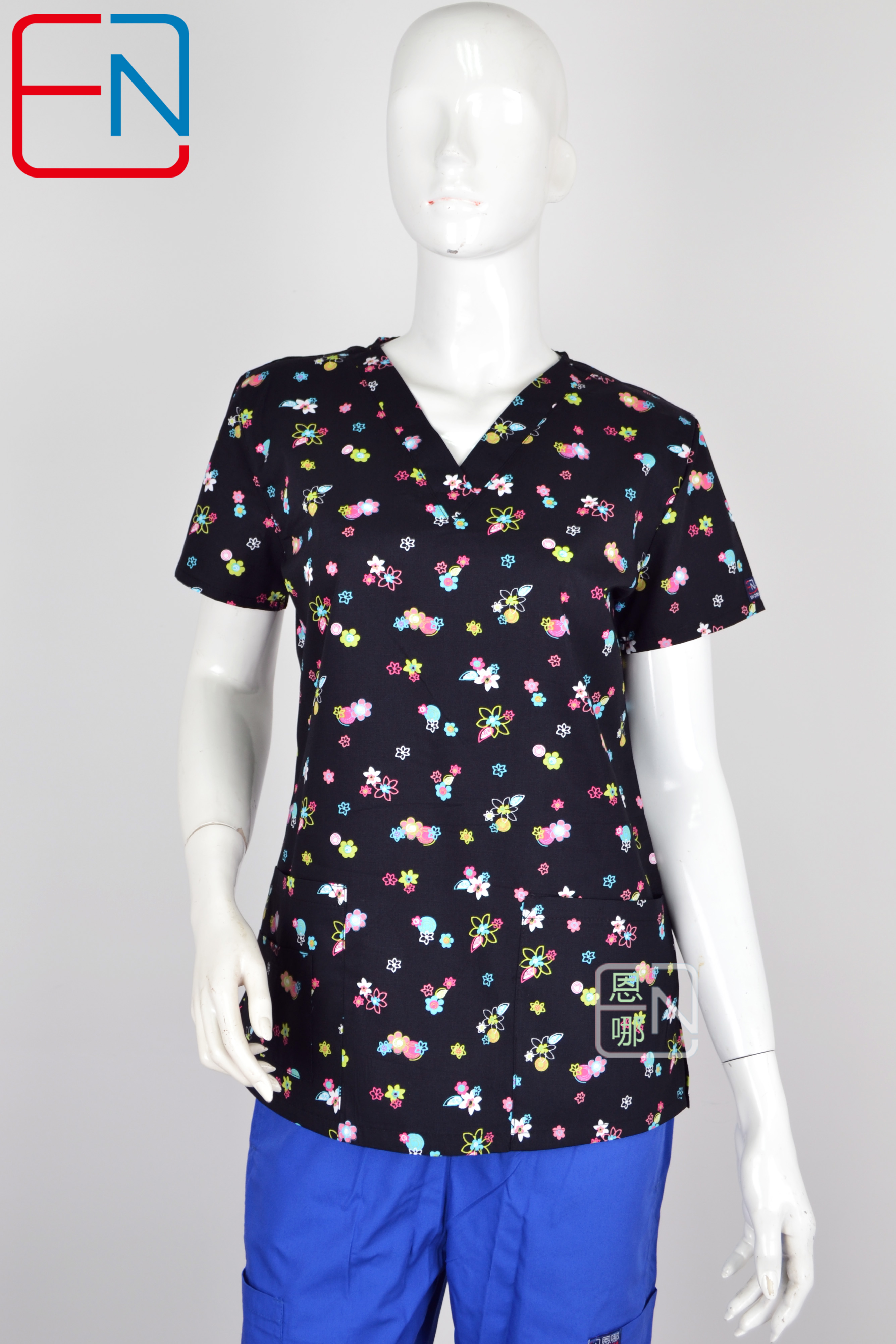 Hennar  Medical  Scrub Tops In 100% Cotton With Stretchy Material