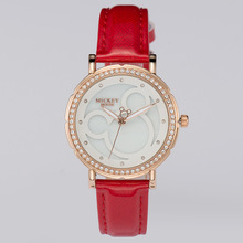Дисней часы бренда Минни Кварц 30 м водонепроницаемый женщины Алмазный Женские наручные часы