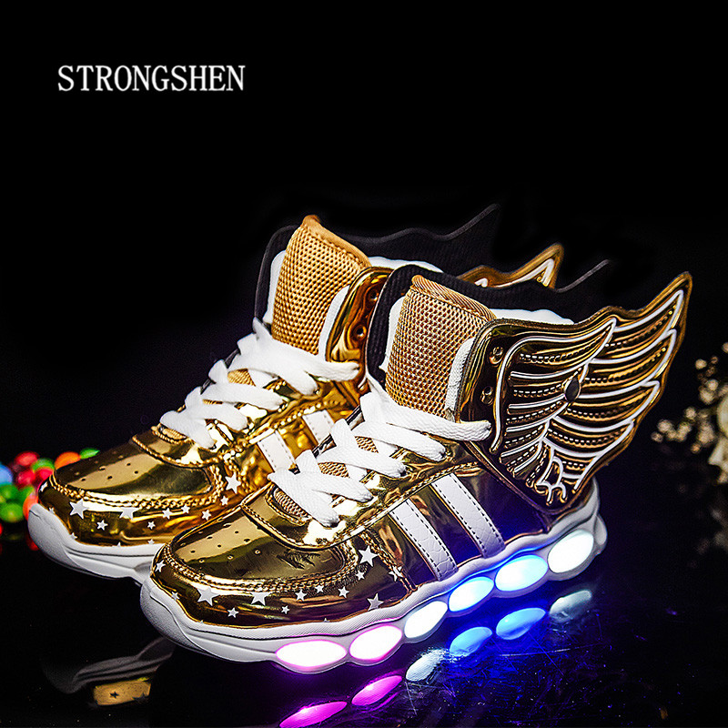 STRONGSHEN New USB Charging Kids Sneakers Fashion Luminous Lighted Colorful LED lights Children Shoes Casual Flat