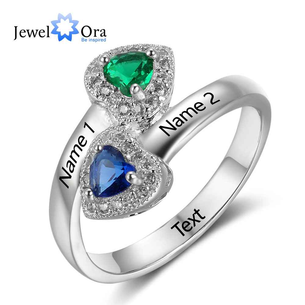 New 925 Sterling Silver Birthstone Ring Engrave Name Engagement Rings Love Heart Shape Rings Free Gift Box JewelOra RI102733New 925 Sterling Silver Birthstone Ring Engrave Name Engagement Rings Love Heart Shape Rings Free Gift Box JewelOra RI102733