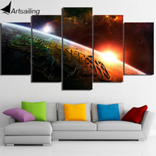 HD Printed 5 Piece Canvas Art Islam The Qur'an Painting Universe Horizon Wall Pictures for Living Room Free Shipping NY-7006A