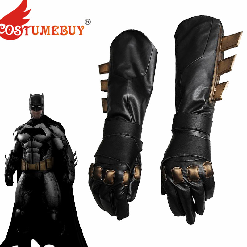 CostumeBuy Batman Cosplay Accessory Superhero Batman v Superman Dawn of Justice Batman gloves Fancy leather cosplay gloves Black