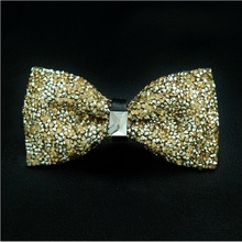 fashion 2019 mens High-grade gold diamond crystal gem bow tie 12cm-6cm butterfly bowties lots