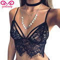 GIRLADY Sexy Lace Bra Top For Women Strappy Cotton Ladies Black White Bralette Transparent Lingerie Brassiere Femme Wire Free