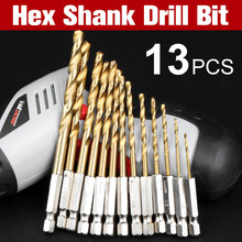 1/4 Hex Shank Drill Bit Set Drill Bits13pcs 1.5-6.5mm Hexagonal Screw Drills Power Tools Woodworking Tools High Speed Steel