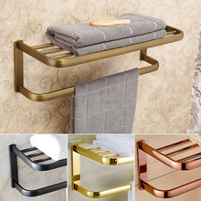 Luxury Wall Mount Bathroom Bath Towel Shelf Towel Bar Brass Good Quality Towel Rack 4 colors