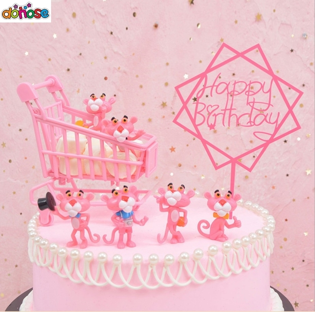 2d2e5fa9 US $2.01 20% OFF|6pcs/set Cartoon PINK PANTHER Figure Cake Decoration  Accessories Kids toy Birthday party for Children-in Action & Toy Figures  from ...