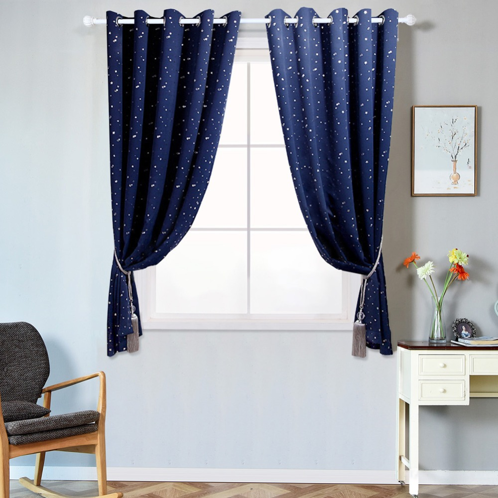 Short Blackout Curtains Star Design Treatment High Shading For Kid Bedroom Child Panel Draper Navy Blue Window Curtains Curtains Aliexpress