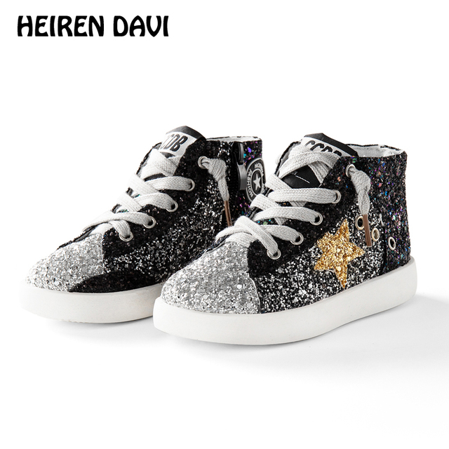98c98e9d56a6 Toddle Boys Glitter High Top Sneakers Baby Girl Fashion Trainer Children  Leather Sequins Pentagram Shoes Kids