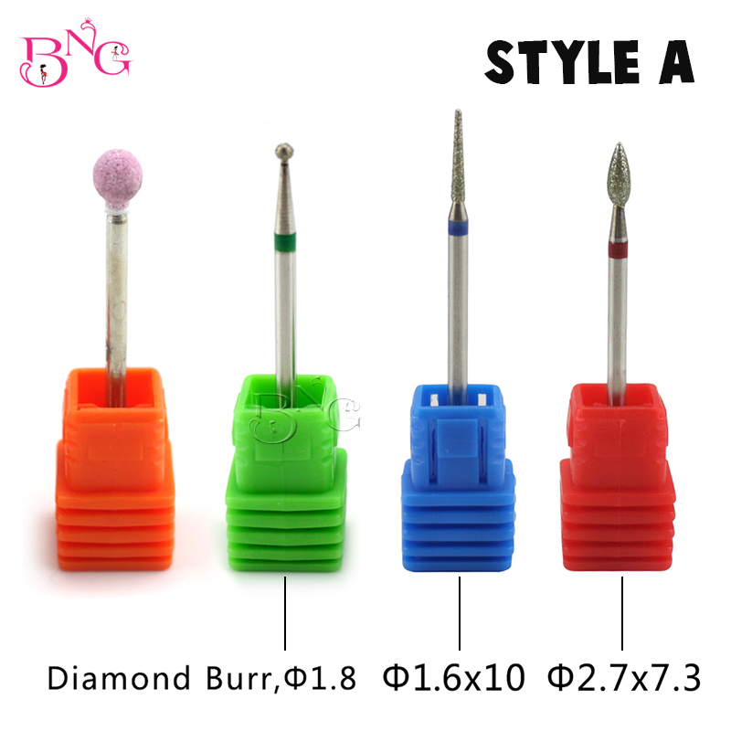 BNG Carbide Bit Nail Rotate Burr Cuticle Clean För Elektrisk Borrmaskin Manikyr Pedicure Tips Diamond Stone Nail Drill File