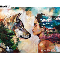 DIY full square diamond canvas oil diamond painting fantasy art woman and the wolf 3D dimensional embroidery series ARW45