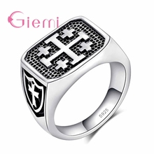 Trendy Classic 925 Sterling Silver Vintage Finger Rings Black Cross Jewelry Present For Women Anniversary Party