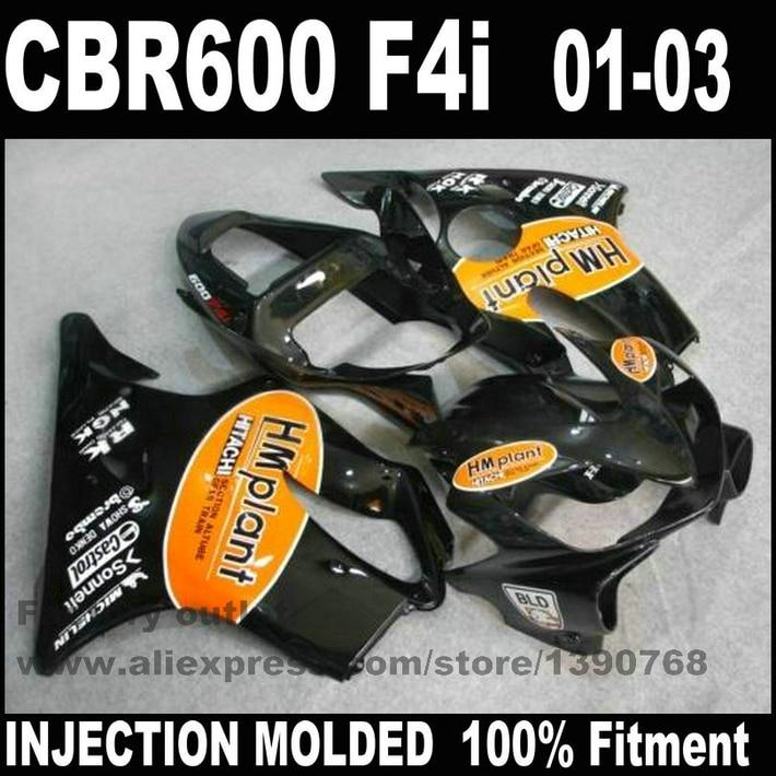 все цены на Plastic Injection Molded for HONDA CBR 600 F4i fairings 01 02 03 CBR600 2001 2002 2003 orange black fairing body kit RE44 онлайн