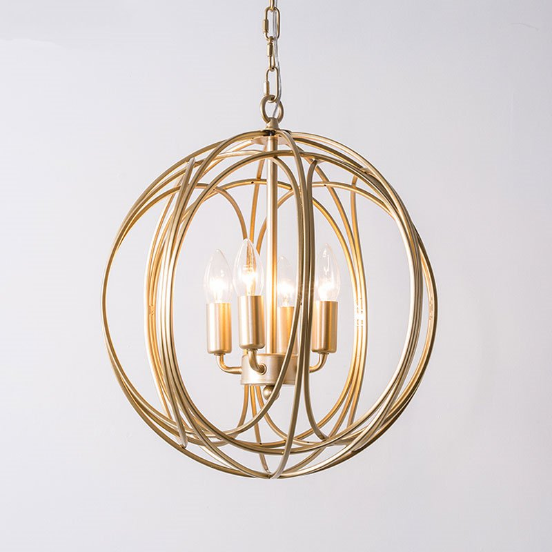 American Country Gold Pendant Lights Living Room Round Cage Hanging Fixture Loft Industrial Dining Room Kitchen Lamp Luminaire Pendant Lights Aliexpress