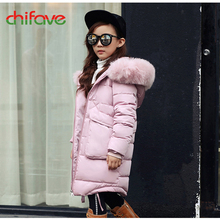2017 chifave Girls Winter Jacket New Baby Girls Coats Hooded Fur Collar Warm Parkas Coat For Girls Children Jacket Solid Fashion