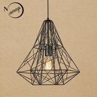 Винтаж черный железной клетке подвесной светильник Лофт подвесные светильники шнур светодиодный Современный E27 для гостиной столовой кухн