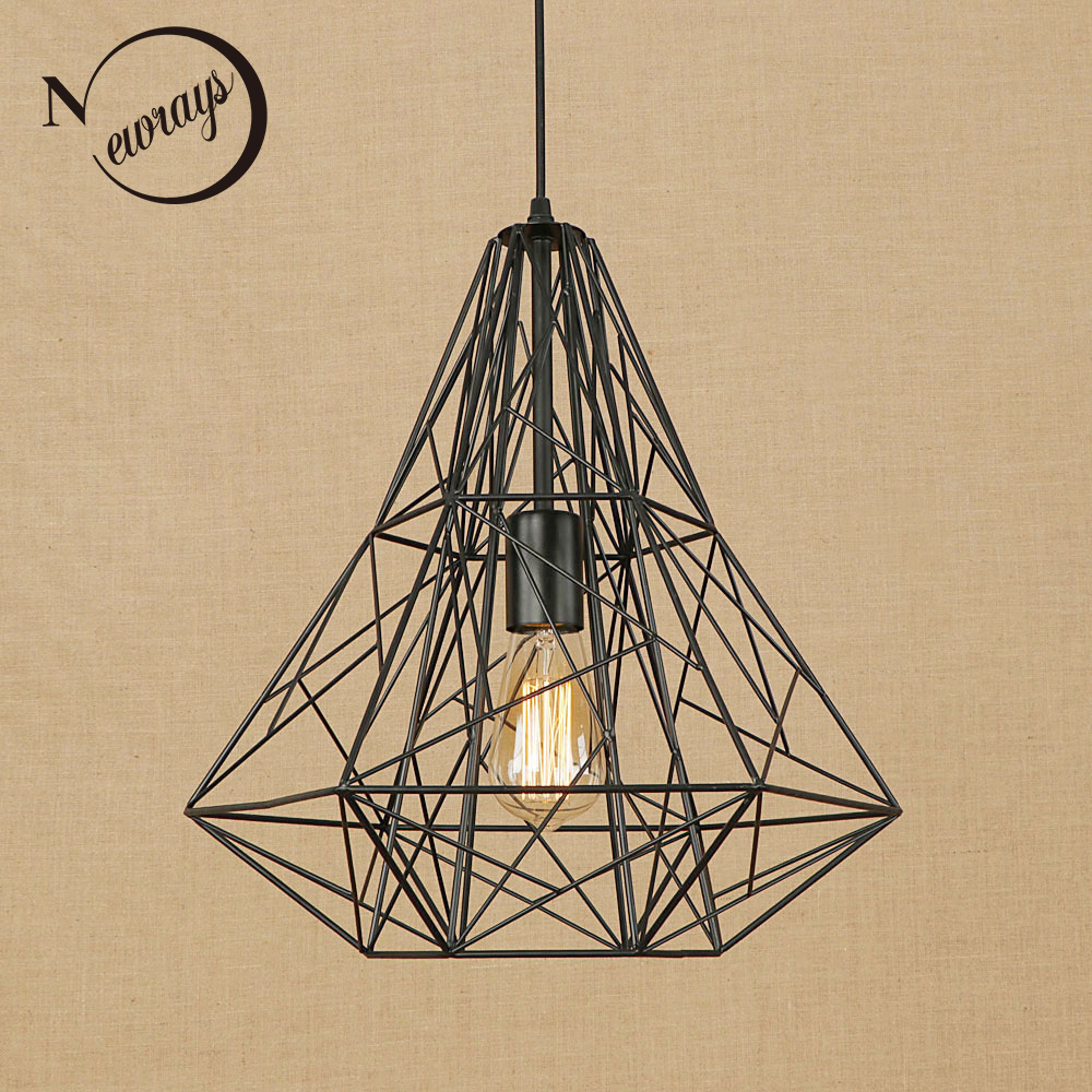 Vintage black iron cage pendant lamp Loft pendant lights cord LED modern E27 for Living room dining room kitchen bedroom bar single head small bar of korean modern minimalist iron pendant lamps dining room pendant light the living room kitchen