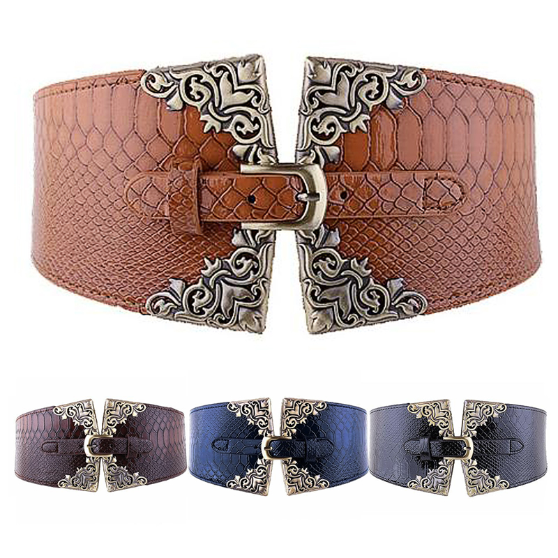 Fashion Lady Women Elastic Waistband Wide Waist Belt Retro Metal Buckle Leather -Y107