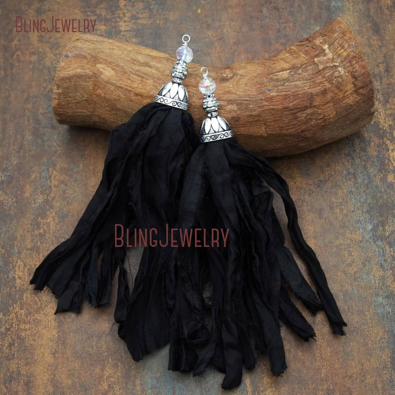 Black Sari Silk Tassel Pendant with Antique Silver Cap and Crystal PM7908