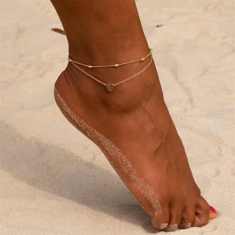 Simple หัวใจหญิง Anklets เท้าเปล่าโครเชต์รองเท้าแตะเท้ารองเท้าแตะขา New Anklets เท้าข้อเท้าสร้อยข้อมือผู้หญิงขา