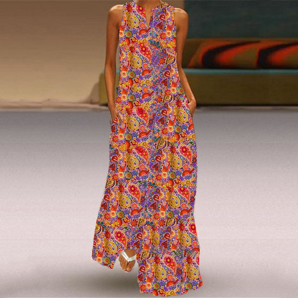 Plus Size Women Vintage V Neck Splicing Floral Printed Sleeveless Maxi Dress elegant floral robe femme strand jurkjes robe ete