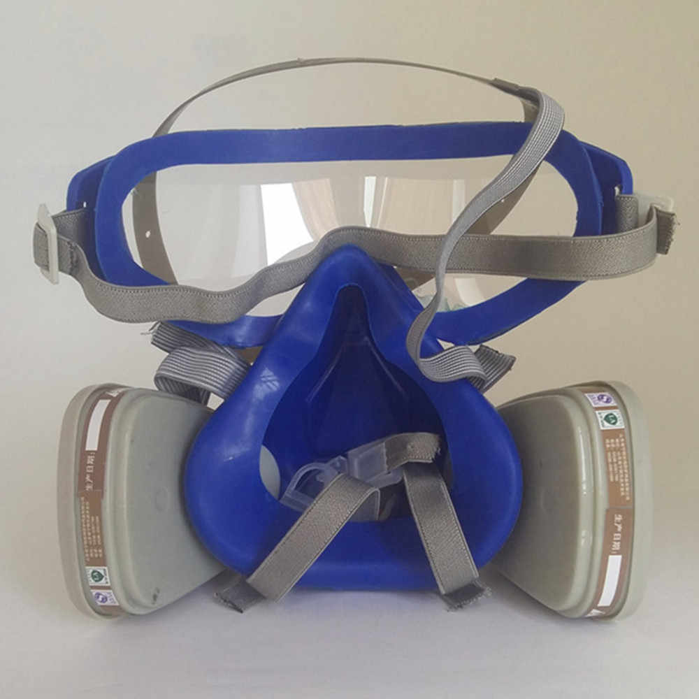 برو كامل قناع واقي من الغاز التنفس مع نظارات مكافحة الغاز مكافحة الغبار الكيميائية قناع واقٍ المنشط الكربون النار الهروب التنفس مجموعة