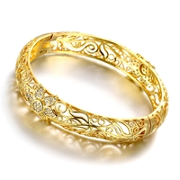 Women Beautiful Hollow Flower Bangles Bracelets High Quality gold colour Cubic Zirconia Crystal Jewelry Pulseras Ouro