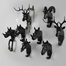 Fashion Animal Shaped Resin Hooks Deer Stags Rhino Horse Giraffe Elephant Head Wall Hanger Coat Hat Hook Rack Holder Home Decor(China)