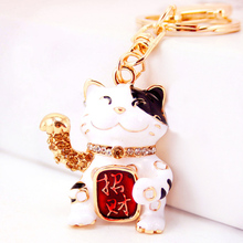 Creative Rhinestone Cute Lucky Cat Keychain Charm Handbag Keyring Car Key Chain Ring Holder Bag Accessory Friends Gift R019