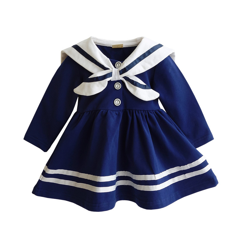 baby girl dress 2017 fashion navy style baby clothes With robe marine fille