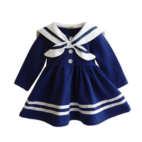 Baby Girl Dress 2017 Fashion Navy Style Baby Clothes Newborns Princess Party Birthday Dresses Sailor Kids