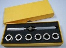 Envío libre venta al por mayor 5537 ranurado caja de reloj volver llave de apertura llave y Die tirada Set para apertura diversos relojes