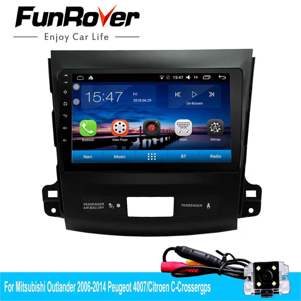 Funrover Car dvd Multimedia Android 8.0 for Mitsubishi Outlander 2006-2014 Peugeot 4007 Citroen C-Cross Radio gps Navigation RDSFunrover Car dvd Multimedia Android 8.0 for Mitsubishi Outlander 2006-2014 Peugeot 4007 Citroen C-Cross Radio gps Navigation RDS