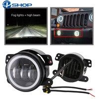 2PCS 4Inch Round Led Fog Lights 30W 6000K White Halo Ring DRL Off Road Fog Lamps