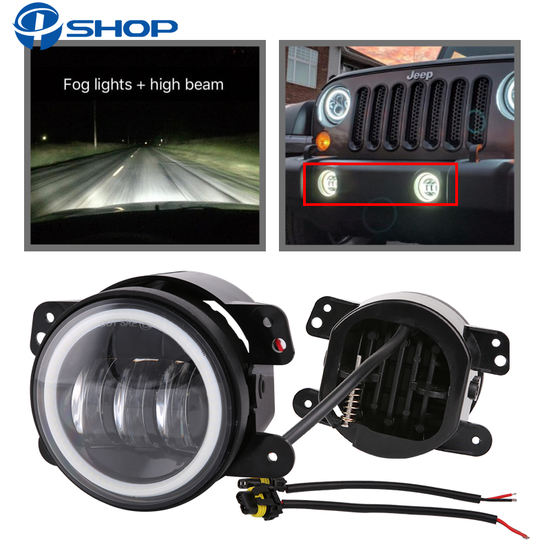 2PCS 4Inch Round Led Fog Lights 30W 6000K White Halo Ring DRL Off Road Fog Lamps For Jeep Wrangler JK TJ LJ Dodge Journey 4 inch 60w led fog lights white drl blue turn signal halo ring for jeep wrangler 97 17 jk tj lj off road fog lamps