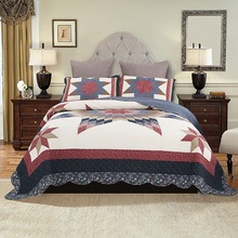 American Bedspread Handmade Patchwork Quilt Set 3PCS Quilted bedding Cotton Quilts Bed Covers Super King Queen Size Coverlet